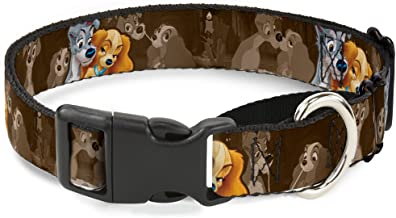 Buckle-Down Dog Collar Martingale Lady and Tramp 2 Poses Spaghetti Kiss Scene Browns 9 to 15 Inches 1.0 Inch Wide