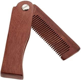 Portable Pocket Folding Wood Comb,Anti-Static Travel Green Sandalwood Comb Tool for Men's Moustache Beard Hair Care (wood)