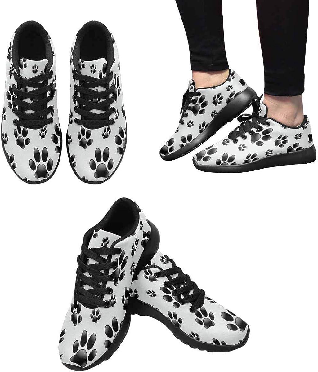 InterestPrint Womens Jogging Sneakers Outdoor Sport Cross Training Shoes Dog's Footprints Pattern