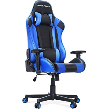 HEAO Gaming Chair 400 lbs Big and Tall Wide Office Chairs, Computer Game Chair PU Leather Ergonomic Racing Style Executive E-Sports Chair with Headrest and Lumbar Support Blue
