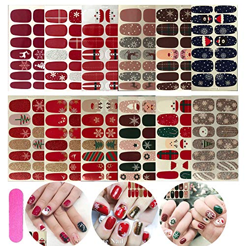 NAIL ANGEL 12pcs Nail Art Full-Cover Sticker Nail Art Wrap Christmas Series Full Cover Sticker Nail Strips for Women Winter Strips 10052