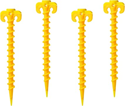 PETIT MANON Tent Pegs Stake Set Spiral Plastic Canopy Stakes Heavy Duty Screw Shape for Camping Hiking Garden 7.9 4//8//10 Pack Yellow Beach Mat