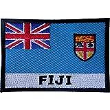 Bestickter Aufnäher mit Fiji-Flagge, zum Aufnähen, auf Stoff, Jacke, Jeans, Tasche, Hemd, Stickerei.
