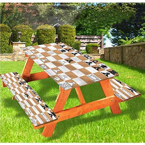 LEWIS FRANKLIN - Juego de mesa y mesa de picnic para mesa y banco, diseño de tablero de ajedrez de color marrón clásico con borde elástico, 28 x 72 pulgadas, juego de 3 piezas para mesa plegable