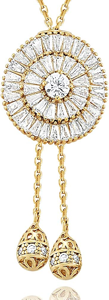 Daring Jewelry 14k Gold Plated Cubic Zirconia Moon Sliding Y Necklace 31.5 inch + Free Extender