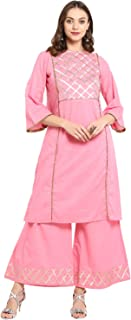 Bhama Couture Women's Straight Salwar Suit Set(Pack of 2)(BHKS056_Pink)