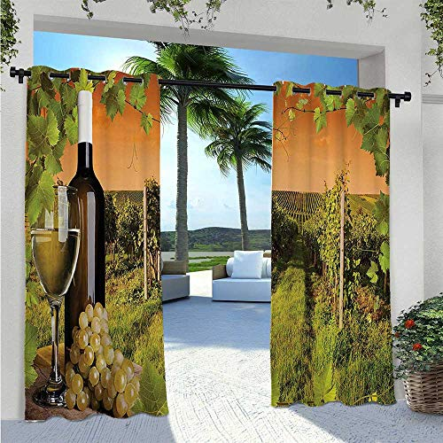 Home Curtains Bottle and Glass of Wine and the Vineyards of Sunset Countryside Romantic Evening View Waterproof Sun Light Blocking Curtain for Sliding Door/Foyer/Arbor/Lanai LGreen W96 x L84 Inch