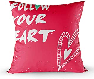 Ducan Lincoln Pillow Case 2PC 18X18,Fundas De Almohada,Fundas De Almohada Cuadradas 16X16 SIGA Su Corazón El Póster Inspirador Motivacional Doodle Se Puede Utilizar como Tarjeta De Felicitación