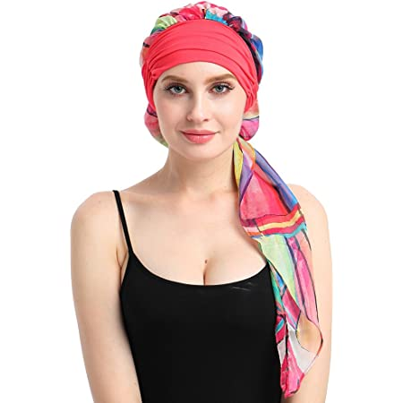Stirnband Schal ToBe-U Krebs Kopfbedeckung Turbane f/ür Frauen Langhaar Geschenke Gr Chemotherapie One size Kopfbedeckung f/ür Haarausfall bei Krebs TJM-329B-blk Link H/üte Kopftuch