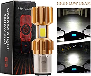 EverBrightt BA20D Motorcycle Headlights Lamp 3 COB 18W LED Bulbs High Low Beam White Pack of 2