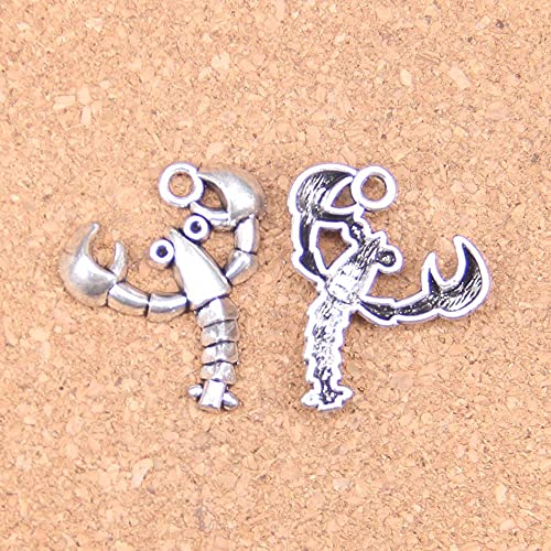 WANM Colgante 10 Uds Abalorios De Crustáceos De Langosta 27X24Mm Colgantes Antiguos De Época DIY Joyería De Plata Tibetana para Collar De Pulsera