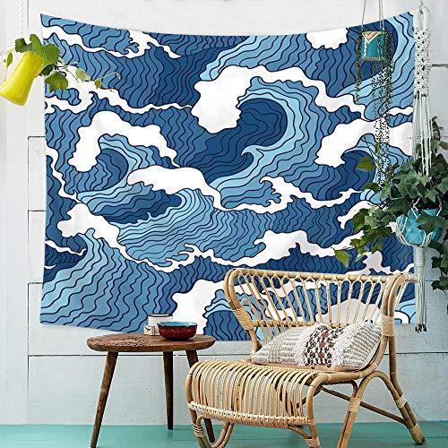 YASHUO Onda de mar Tapiz de Rayas Impresas Tapiz de Pared Tapiz Azul Grande Decoración de Tela Manta Alfombra de Yoga Alfombras Mantas Playa,TT1,El 150x230cm