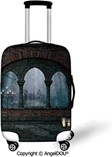 AngelDOU Trolley Trunk Dust Case Cover Travel Accessories Gothic Decor Medieval Castle at Night with Old Arch and Candles Middle Age Misty Image Blue Grey Red Elastic Luggage Dust Cover.