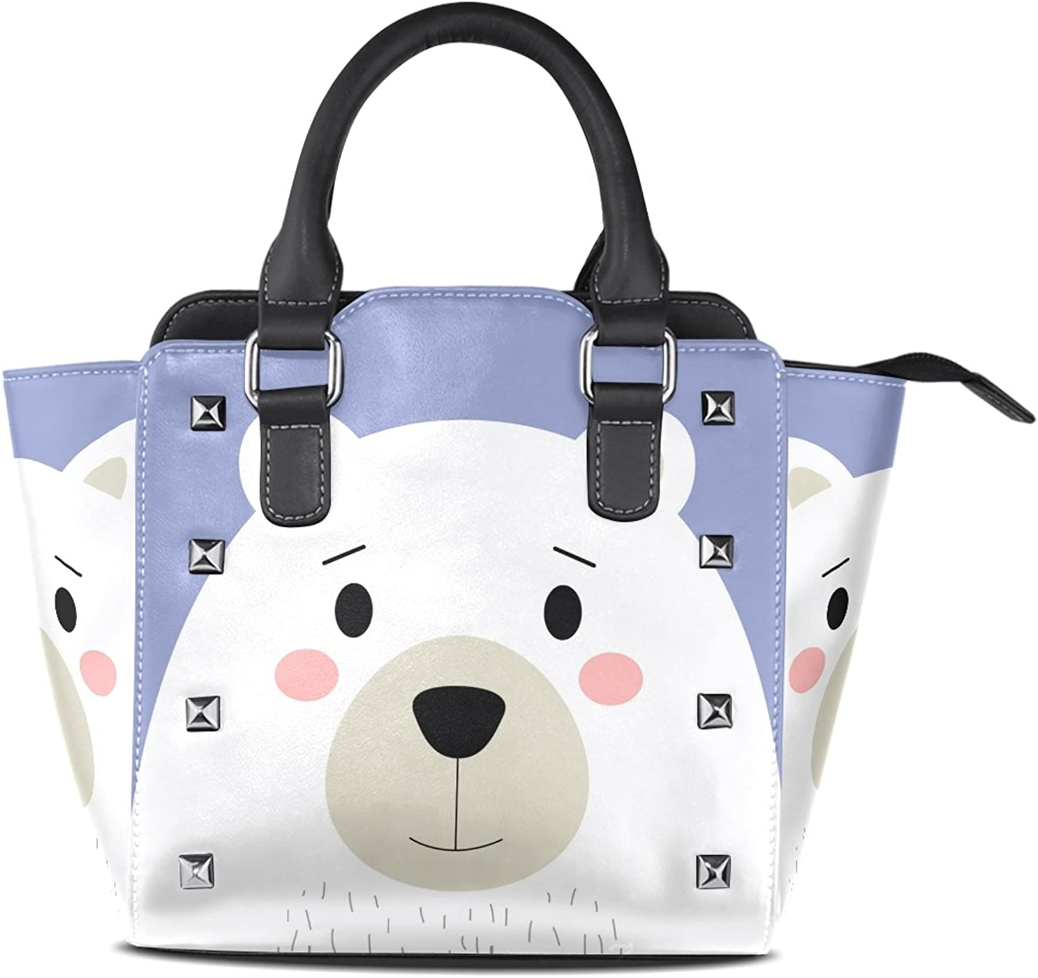 My Little Nest Women's Top Handle Satchel Handbag Cute White Polar Bear Ladies PU Leather Shoulder Bag Crossbody Bag