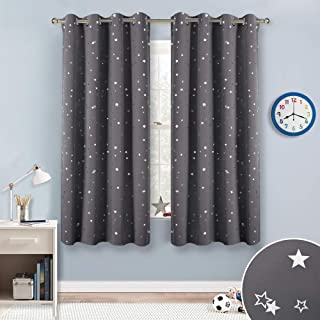 RYB HOME Kids Blackout Curtains for Bedroom, Twinkle Star Patterned Room Darkening Panels for Nursery Thermal Insulated Drapes for Boys Playroom, Grey, Wide 52 x Long 63, 1 Pair