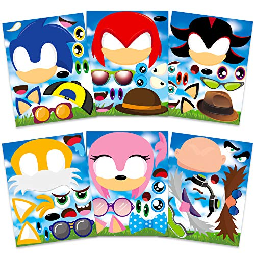 36 Pack Sonic Face Stickers Themed Make a Face Stickers Party Supplies Mixed and Matched Fantasy Party Favors Make Your Own Characters Stickers Gifts Rewards Art Craft for Boys Girls