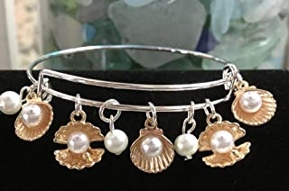 Expandable Bangle Bracelet Sea Shells, Oyster, Clam~Pearls/Ocean-Rose Gold Charm