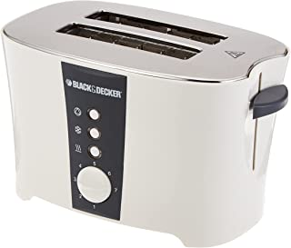 Black+Decker 2 Slice Cool Touch Toaster with Crumb Tray for Easy Cleaning, White - ET122-B5, 2 Years Warranty