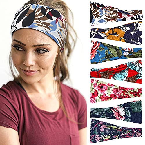 7 Pack Headbands for Women Yoga Sports Women's Headbands Workout Hair Bands Exercise Elastic Non Slip Sweat Head Wraps Fashion Hair Accessories for Girls Women