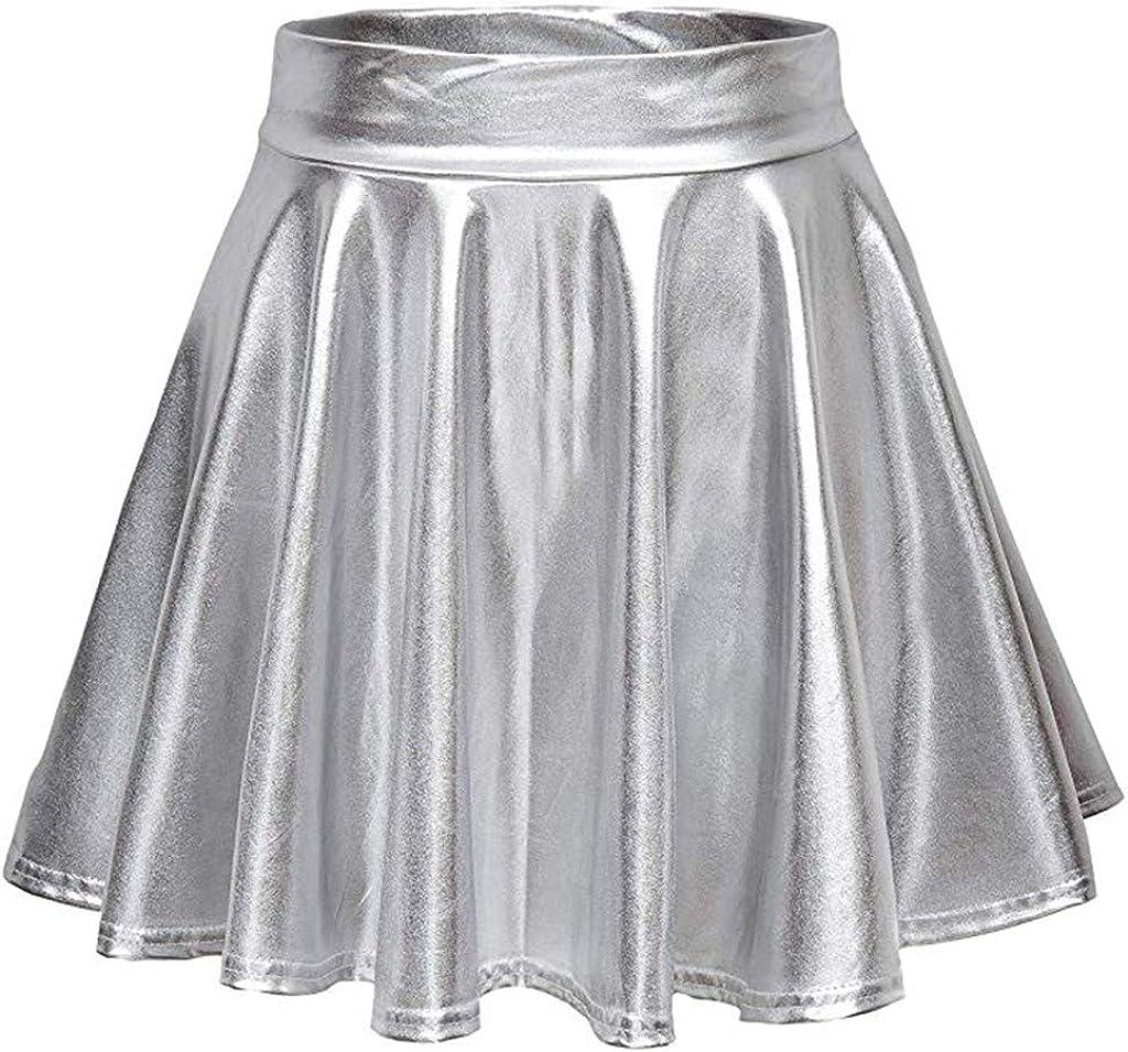 NotingBuss Women's Casual Fashion Shiny Metallic Skirt