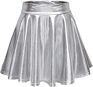 LANSKRLSP Donna Shiny Metallic Mini-Gonna da Pattinatrice Moda Elastico Svasata Minigonna Solida Colore Gonna