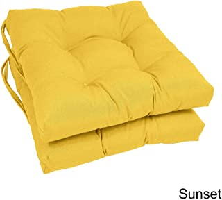 Blazing Needles Square 16-inch Twill Dining Chair Cushions (Set of 2) Yellow