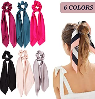 Silk Satin Hair Scrunchies, Hair Scarf with Bow Silk Elastic Hair Bands, Stripe Printed Hair Bobbles for Ponytail Holder (6 Pcs Solid Colors)