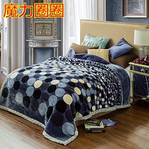 PengMu zachte knuffeldeken blauwe bol van de dubbele sterke deken van de winter zachte en warme woondeken in de woonkamer