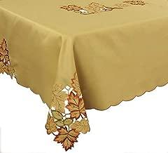 Xia Home Fashions Bountiful Leaf Embroidered Cutwork Fall Tablecloth, 70 by 144-Inch