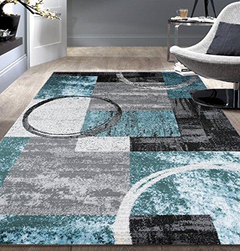 Contemporary Abstract Circle Design Gray Soft 5'3