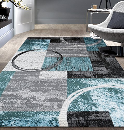 "Contemporary Abstract Circle Design Gray Soft 5'3"" x 7'3"" Indoor Area Rug"