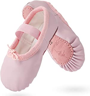 TXJ Sports Leather Ballet Shoes for Girls Full Sole Ballet Slippers for Toddler Kids Ballet Dance Practice Shoes