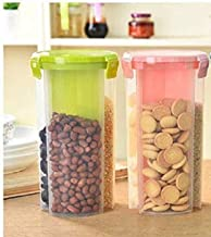 FABLE Storage Container for Kitchen 3 Sections Air Tight Transparent Food, Grain, Cereal Dispenser Storage Container Jar -2000ml,Storage containers (Pack of 2)