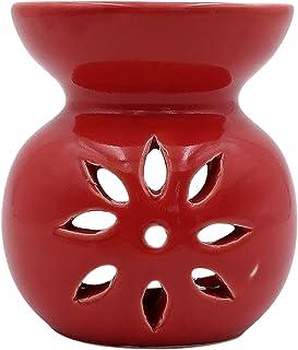 Farkraft Ethnic Ceramic Aroma Diffuser Oil Burner 1 Pcs Free Candles (Solid Red)