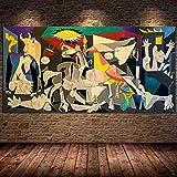 Guernica de Picasso, pinturas en lienzo, reproducciones, carteles e impresiones famosos, arte de pared, cuadros de Picasso para sala de estar, 75x150 cm sin marco