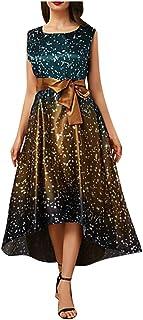 Xinantime Womens Elegant Bow-Knot Dresses Polka Dot Gradient Dress Asymmetrical Big Swing Dress