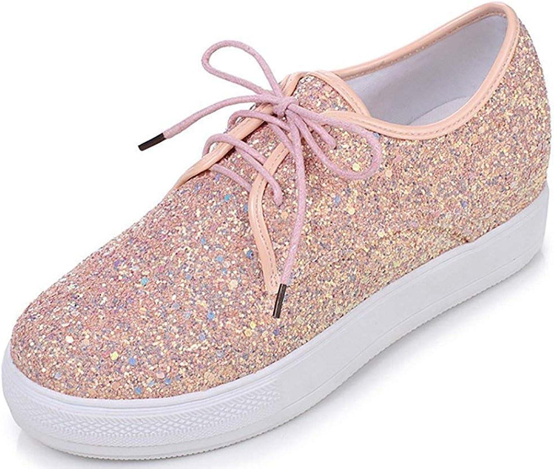 Gcanwea Women's Comfortable Sequins Round Toe Platform Mid Heel Fashion Sneakers Pink 6 M US