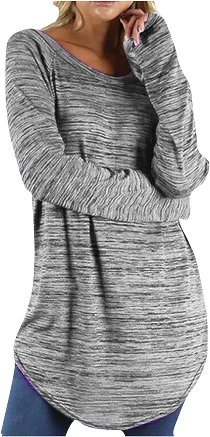 Women's Plain Long Blouses Autumn Round Neck Long Sleeve Solid Clor Loose Tee Shirts Plus Size Tops Pullover