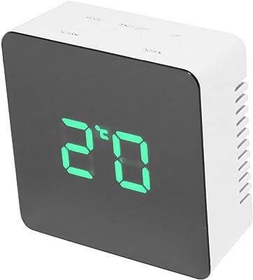 REFURBISHHOUSE Reloj de espejo sin ruido multifuncional Despertador LED de luz de noche de tiempo de