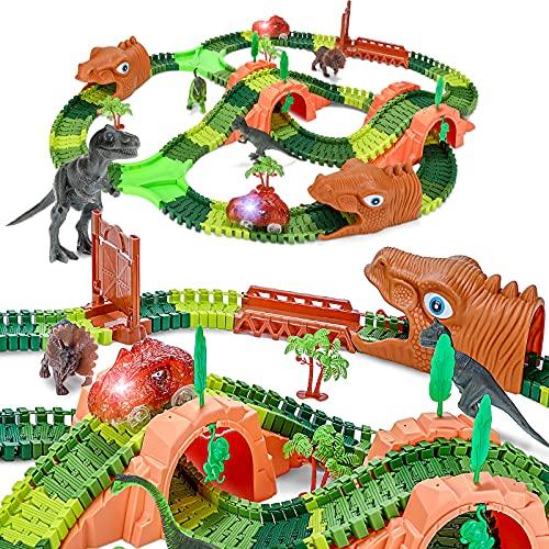 WOSTOO Pista de Coches con Dinosaurio Juguetes Juego con 2 LED Autos, Jurásico Mundo Juguetes Infantiles, Flexible Circuitos de Carreras de Juguete para Niños, Regalo Cumpleaños para Chico Niña