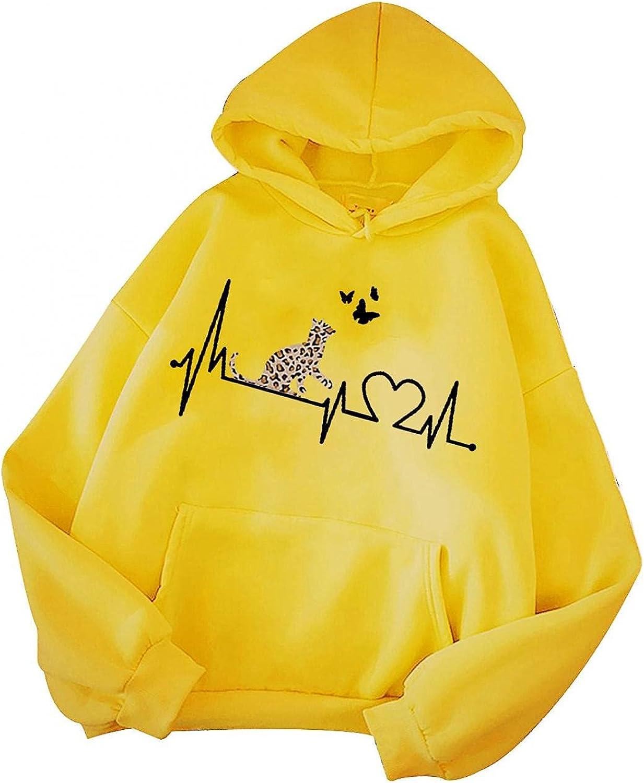 Toeava Hoodies for Women, Women Fashion Solid Animal Print Sweatshirt Loose Long Sleeve Drawstring Hoodies with Pocket