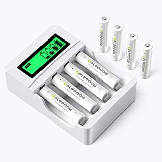 Deportee AAA Rechargeable Batteries Ni-MH Triple A Batteries with LCD Charger 1100mAh 1200 Cycles...