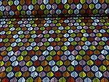 Baumwollsweat byGraziela Blätter, Ökotex 100, blau-bunt