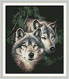 Joy Sunday Kits de punto de cruz 14CT contados Dos lobos Bordado sin imprimir DMC Suminist...