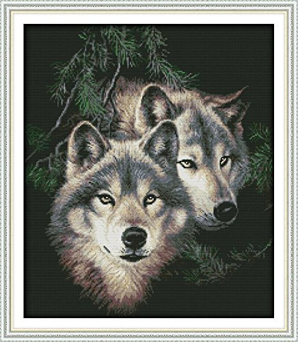 Cross Stitch Kits - Counted Cross Stitch Kit, Cross-Stitching Patterns Two Wolf with 14CT White Fabric - DIY Art Crafts & Sewing Needlepoints Kit for Home Decor 20x17