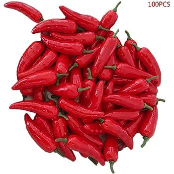 EudoER Finto Pepe Rosso Simulazione realistica Hot Chili per casa Cucina Decorazione 50 Pezzi