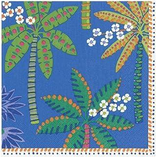 Caspari Paradise Palms papieren cocktailservetten in blauw, vier pakjes van 20
