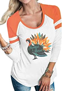 Thankful Blessed Thanksgiving Turkey T Shirt Women 3/4 Sleeve O-Neck Striped Splicing Tops Tees