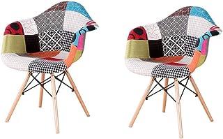 N/A lot de Deux fauteuils patchwork en tissu de lin pour loisirs salon coin fauteuils de réception avec dossier et pieds e...