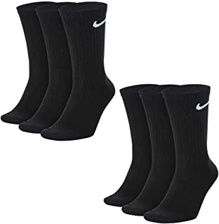 NIKE, 6/9/12/15/18 Par de calcetines de entrenamiento para hombre Everyday Lightweight Crew Trainings, Negro (Black/White), 42-46 (L)